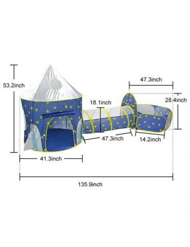 3 in 1 Rocket Ship Play Tent Indoor/Outdoor Playhouse Set for Babies Toddleers